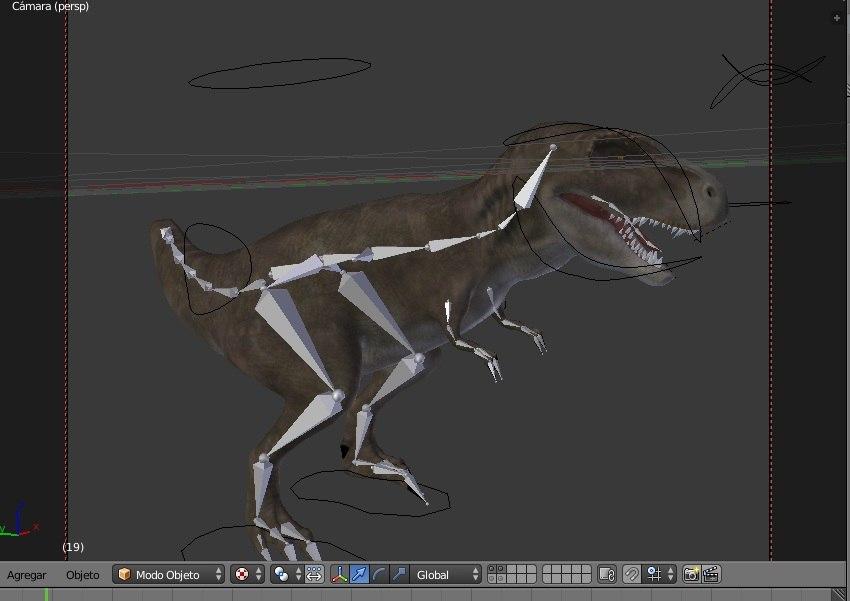 3d model t-rex blender rigged