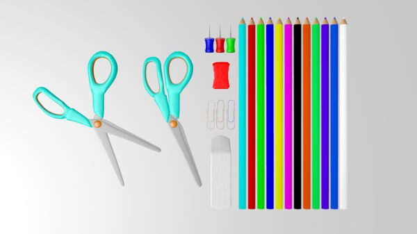 school supplies 3d model