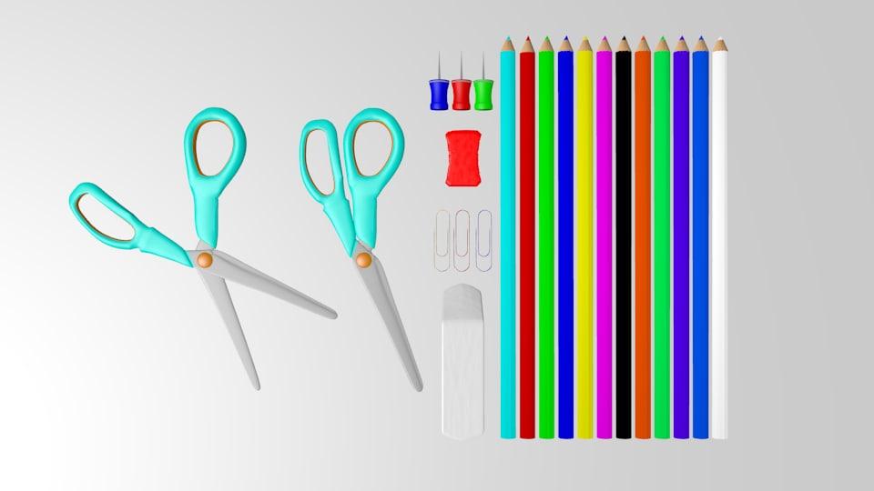 school supplies 3d model