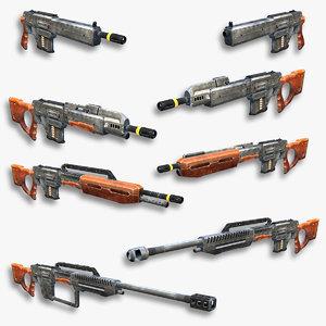 3d set sci-fi assault rifles model