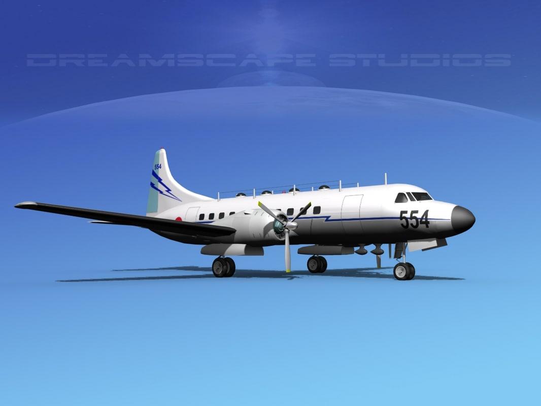 propellers convair military transport 3d obj