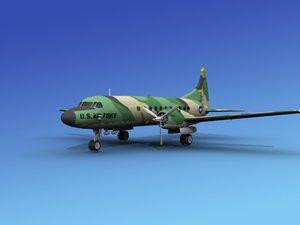 3d model propellers convair military transport