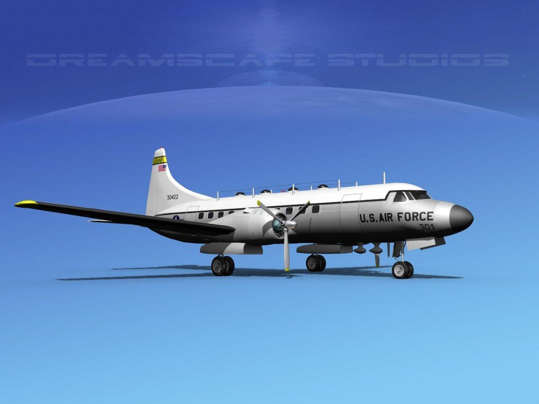 propellers convair military transport 3d model