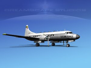 propellers convair military transport 3d model