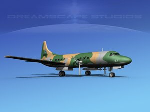 propellers convair c-131 military transport 3d dxf