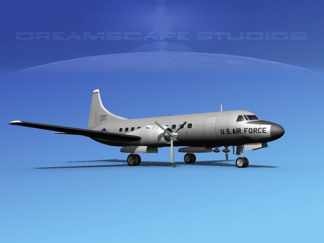 3d propellers convair c-131 military transport