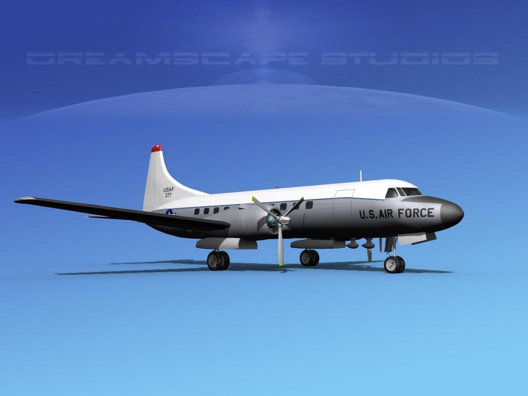 3d propellers convair c-131 military transport model