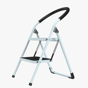 3d step ladder 3 rigged