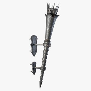 medieval torch 3d obj
