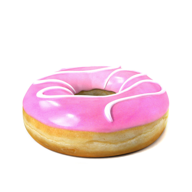 3d photorealistic donut cartoon