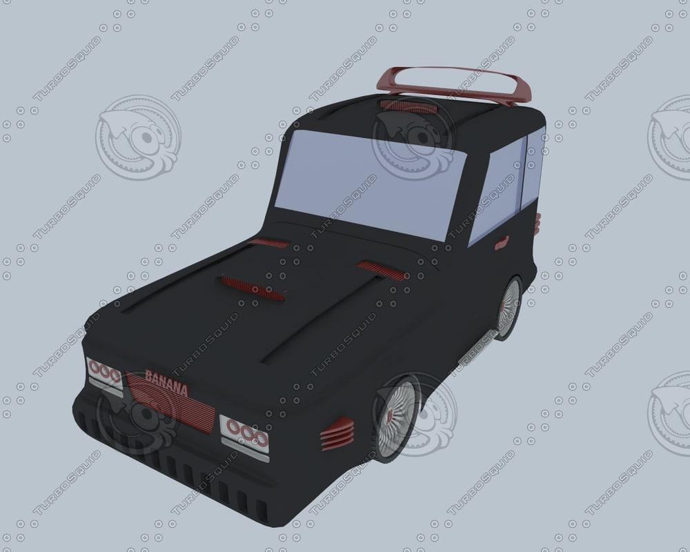 cartoon car 3d obj