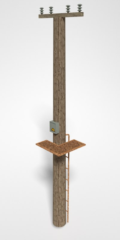 wooden power pole 3d obj