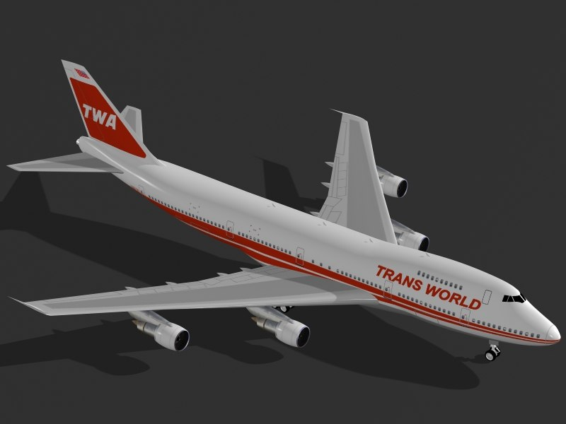 3d commercial airplane b 747-200 model