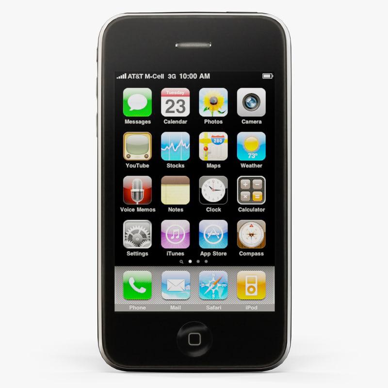 3d apple iphone 3gs phone model