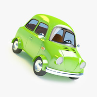 3ds max cartoon small retro car