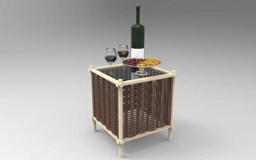 3d rotang coffee table model