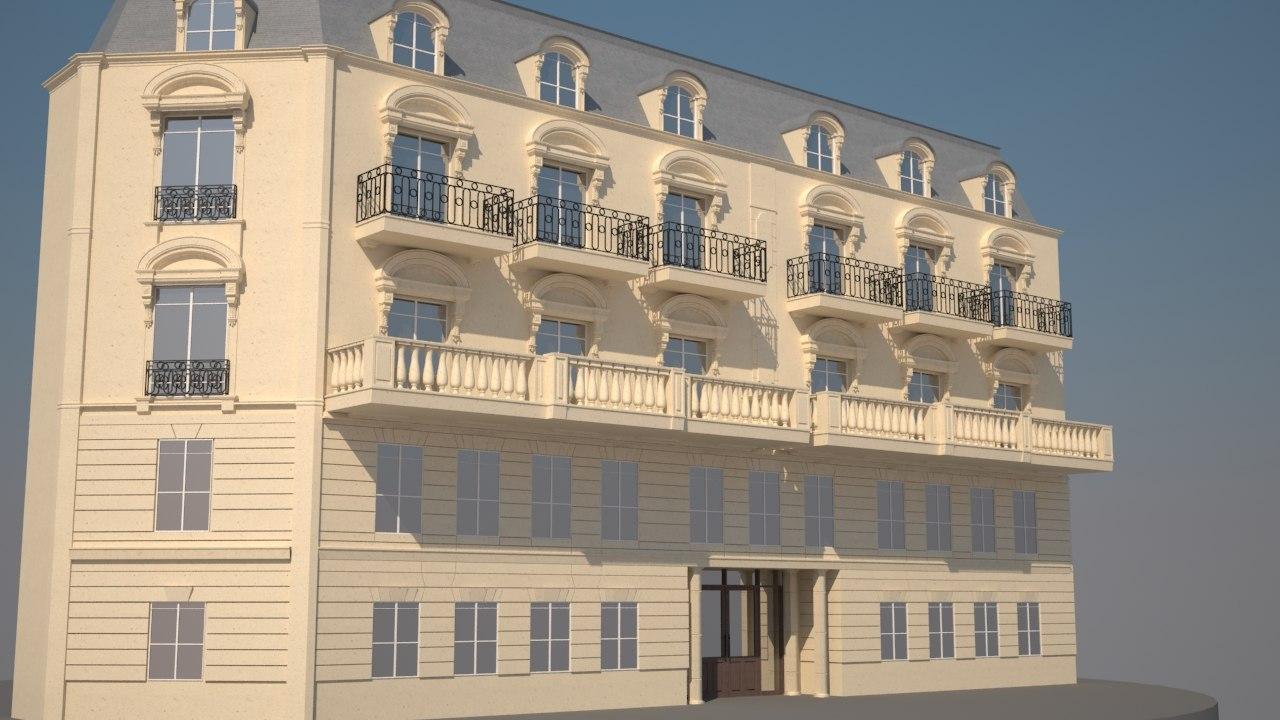 3d model paris haussmann building