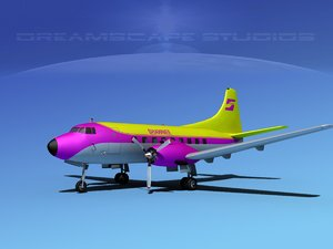 propellers martin 202 airliners 3d model