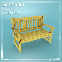 Bench #3 Low Poly for Game Dev
