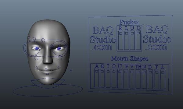 free robot head rig 3d model