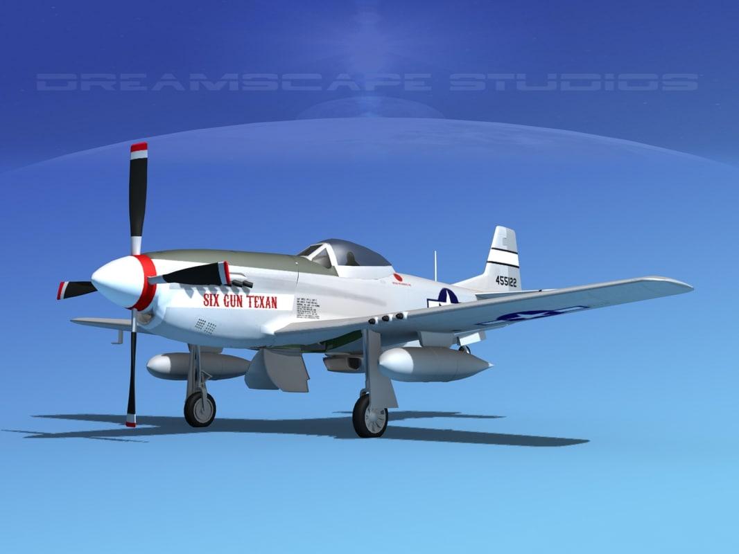 mustang cockpit guns p-51d 3d model