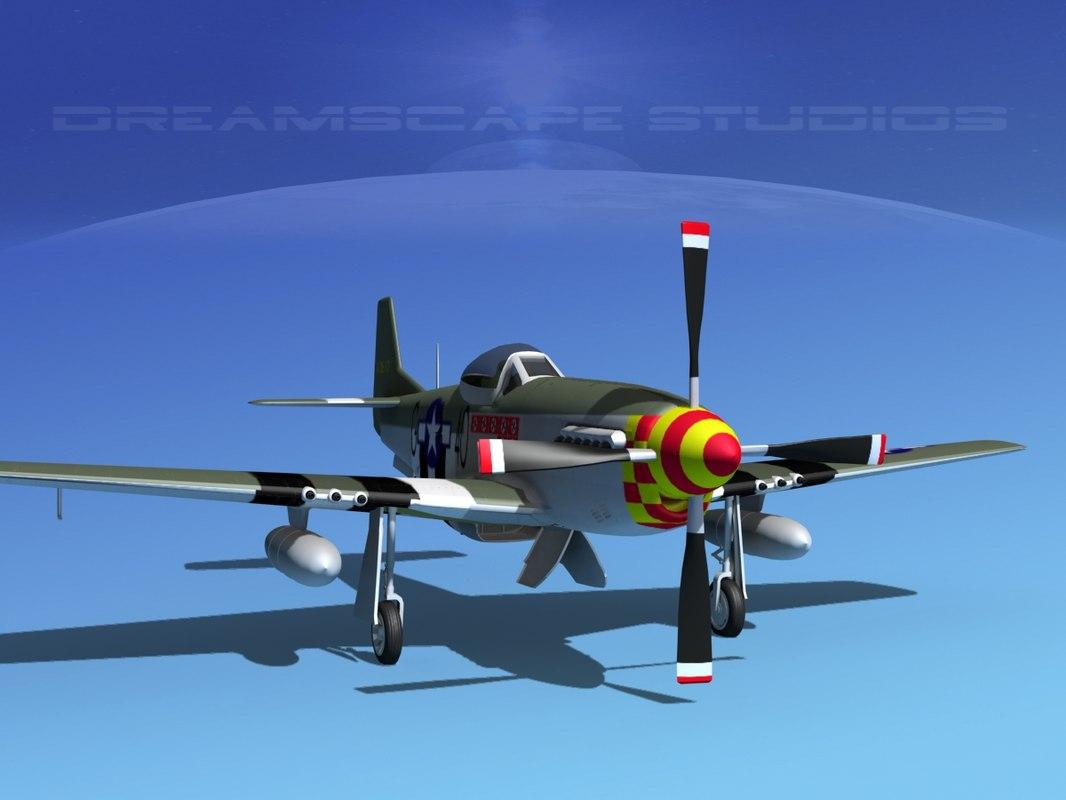 mustang cockpit p-51d 3d max