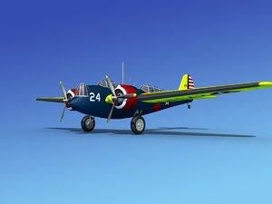 3d model propellers martin b-10 bomber