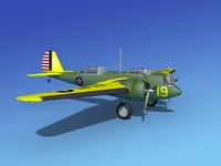 propellers martin b-10 bomber 3d model
