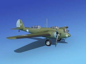 propellers martin b-10 bomber 3d obj