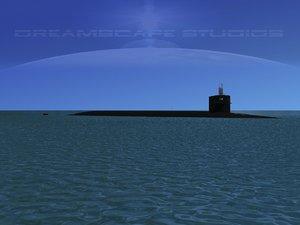 missile ohio class submarines 3d model