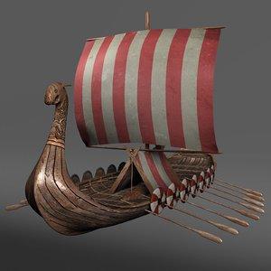 ship viking longship 3d model