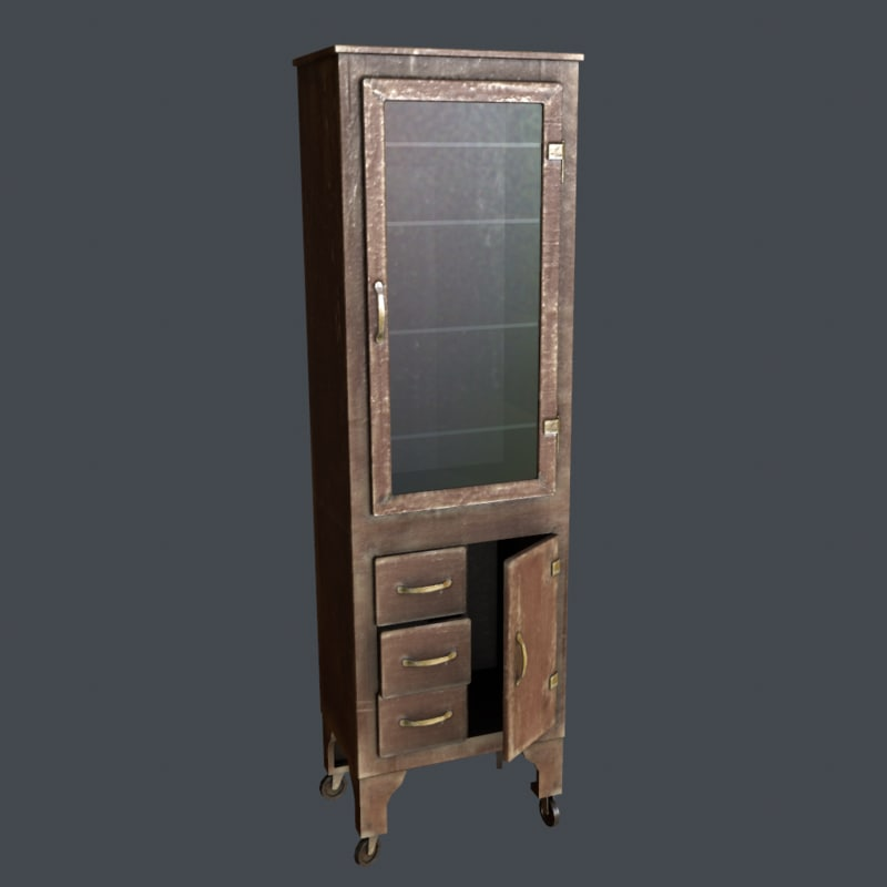 antique rolling cabinet 3d x