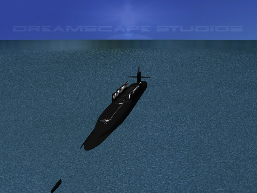 3d ssgn ohio class submarines model