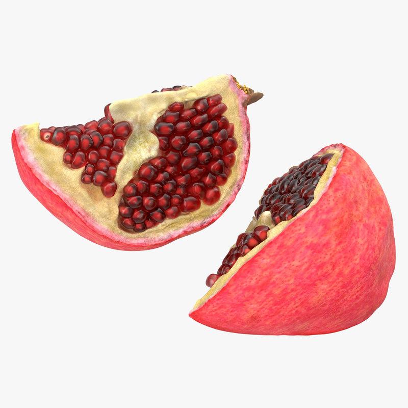 3d pomegranate slice model