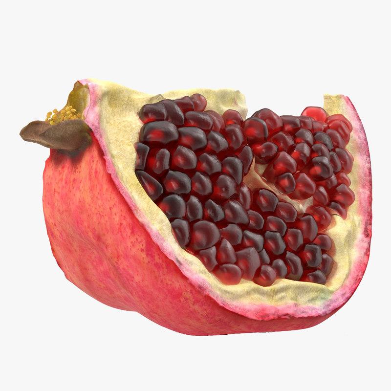 3d 3ds pomegranate slice 3