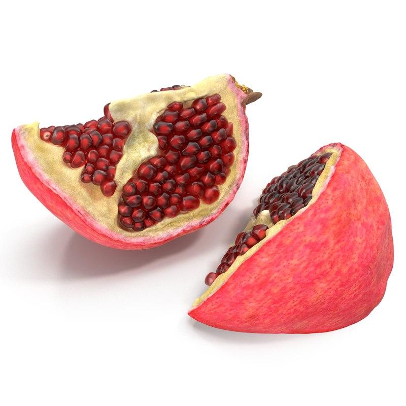 max pomegranate slice modeled