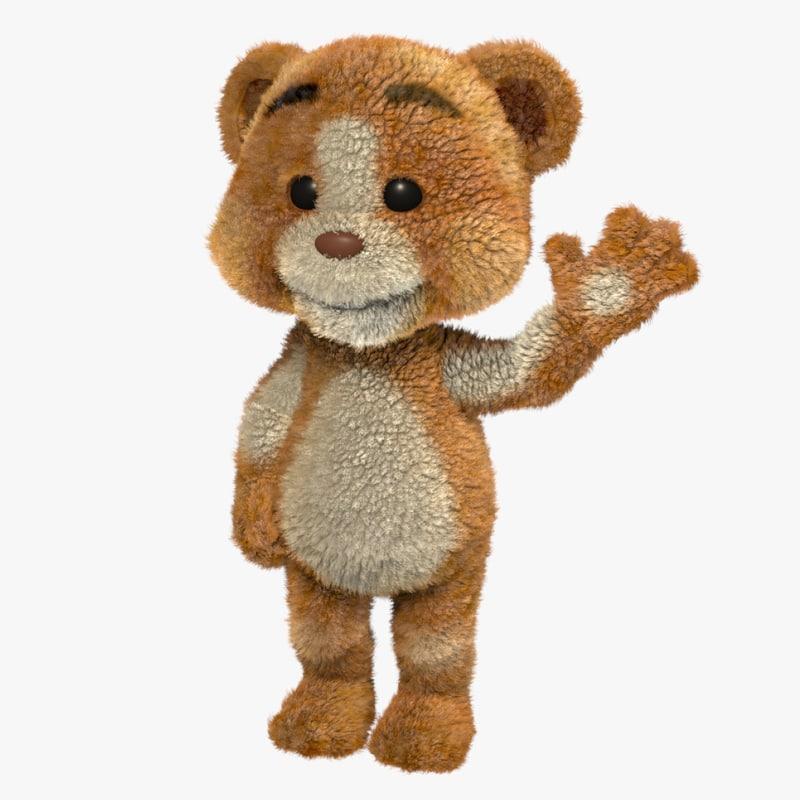 cartoon teddy bear rigged 3d ma