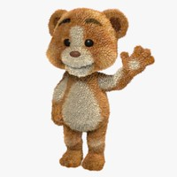 cartoon teddy bear rigged 3d ma