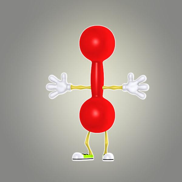 cartoon dumbbell 3d model