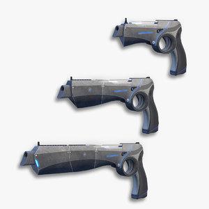3d model set sci-fi pistols