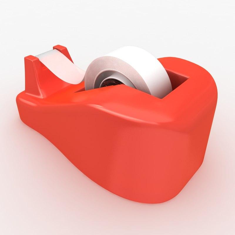 realistic tape dispenser 3d model