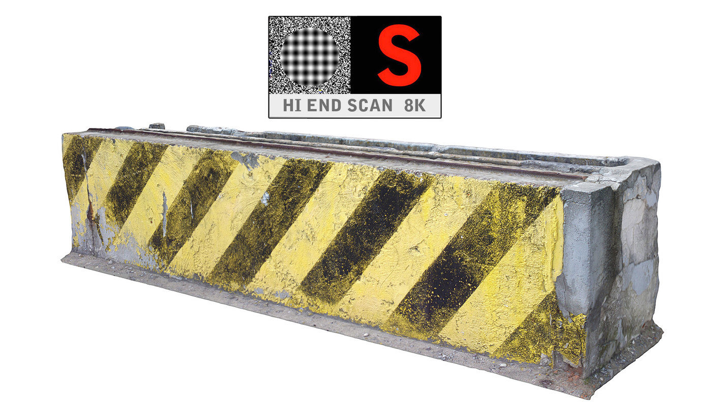 3d model concrete barrier scan 8k