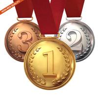 3d model gold silver medal