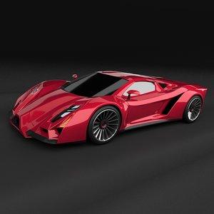 concept supercar car 3d model