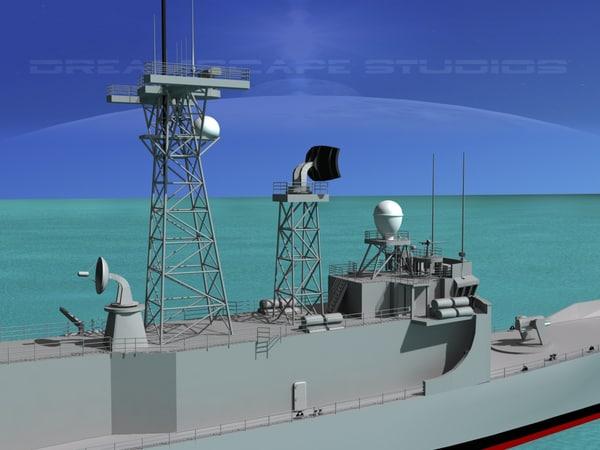 perry class frigate 3d model