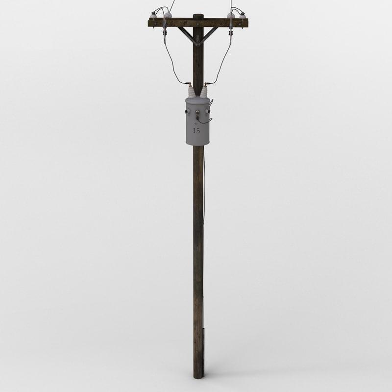 3d power transformer pole model