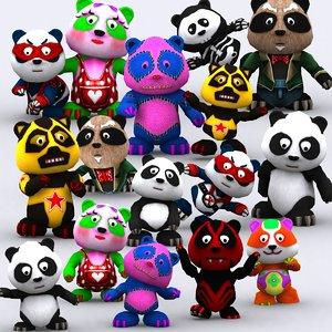 3d model panda toon
