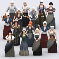 medieval peasants females construction kit 3d model