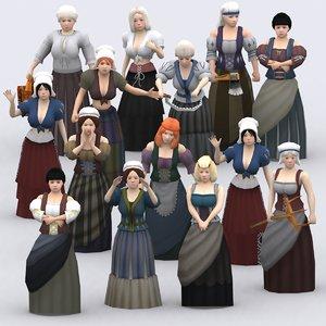 medieval peasants females construction kit 3d model