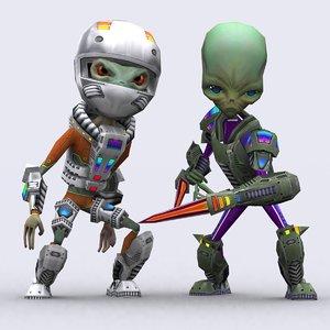 alienoids modular kit alien 3d model